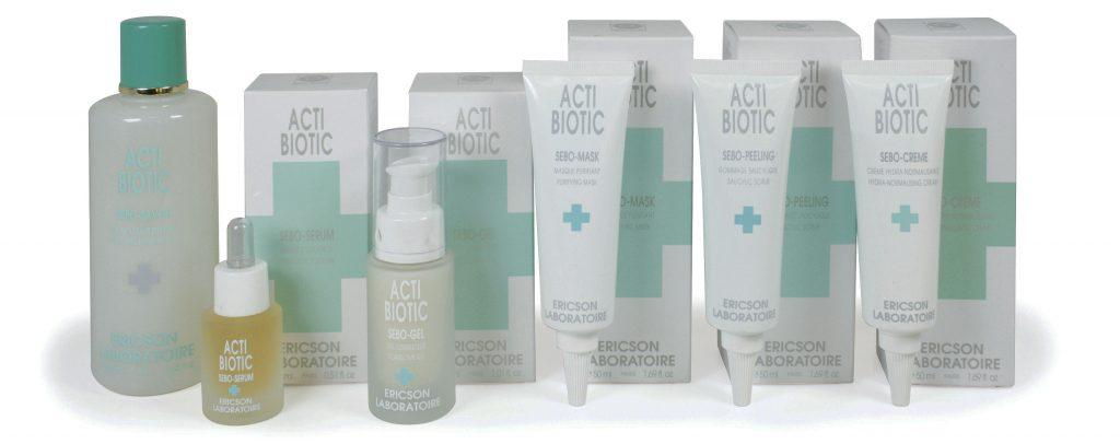 Behandeling van gemengde, vette of door acne aangetaste huid. Ericson Laboratoire Acti Biotic voor de verzorging van de vette huid. Acti Biotic zorgt voor het herstellen van het evenwicht van de huid waardoor meeeters en een glanzende huid verdwijnen.     Er zijn in de Acti Biotic lijn krachtige actieve principes geïntegreerd met specifieke werkingen zoals de bestrijding van seborrhea, bacteriën, hormonen en irritaties.  Acti Biotic zorgt voor:  Verwijdering van zwarte punten Zuivering Vermindering van huidsmeer Ontgifting Regeling van de talgklier Anithormonale werking Antibacteriele werking